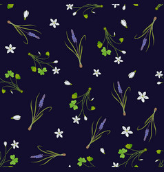 spring seamless pattern with miscari and wood vector image