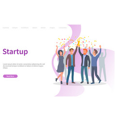 Startup success of business project celebration vector