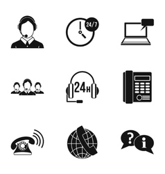 Support icons set simple style vector