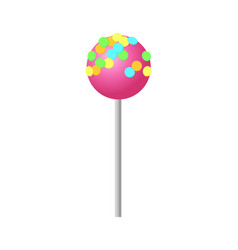 Sweet strawberry lollipop with colorful sprinkles vector