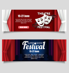 theatre festival paper cut banner templates vector image