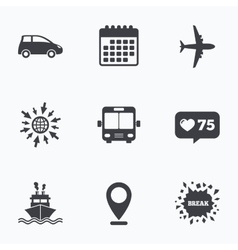 Transport icons Car Airplane Bus and Ship vector image