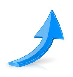 Up blue 3d arrow shiny web icon vector