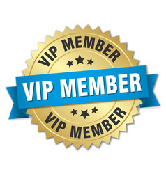 Vip member round isolated gold badge vector