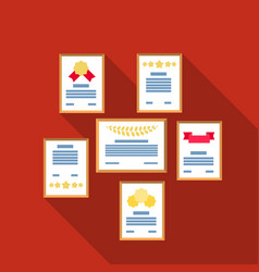 Wall of certificates icon in flat style isolated vector