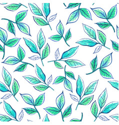 Watercolor pattern leaves vector