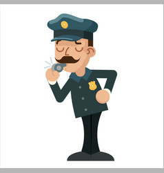whistle policeman detective police cartoon flat vector image