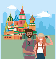 woman and man with backpack taking a picture vector image