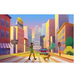woman walking dog in city flat vector image