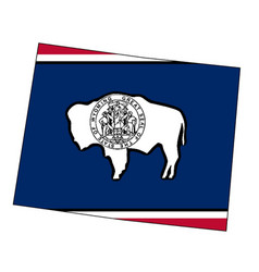 Wyoming state outline map and flag vector