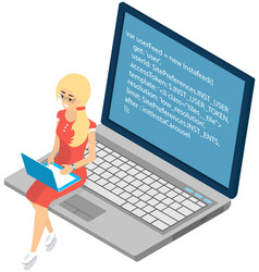 Young woman sitting on computer and working vector