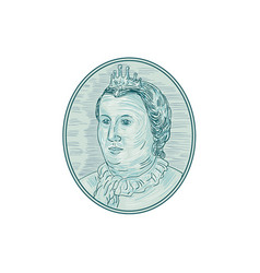18th century european empress bust oval drawing vector image
