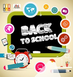 Back to School Title on Black Board with Education vector image vector image