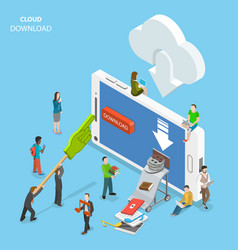 cloud download flat isometric concept vector image vector image
