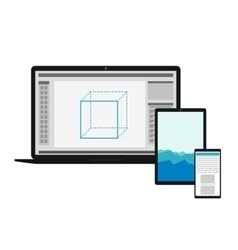 Electronics set with different screens vector image