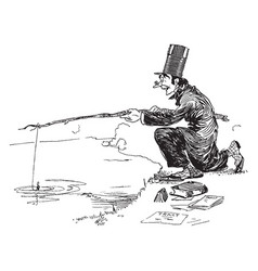 Man fishing vintage vector