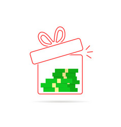 Red thin line gift box with money inside vector