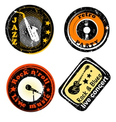 retro stamps for music vector image vector image