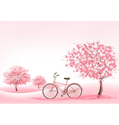 Spring background with a blossoming tree and a vector