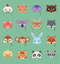 animals carnival kids mask set festival vector image