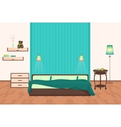 Beautiful modern Bedroom interior cartoon vector image