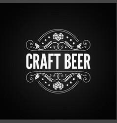 beer vintage label craft beer logo on black vector image vector image