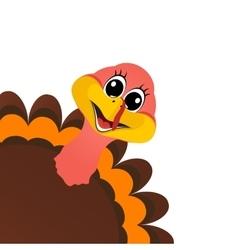 Funny turkey Peligrin peeking sideways on vector image vector image