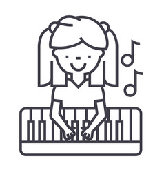 girl playing on piano line icon sign vector image vector image