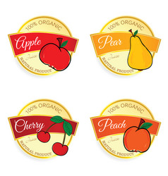 Label of fruit natural product set in colorful vector