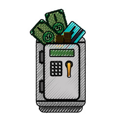 Metal strong box with bills coins and credit card vector