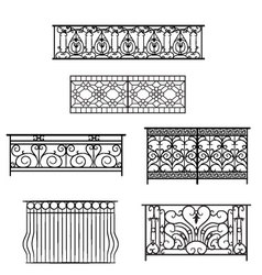 Types of balcony railing vector image vector image