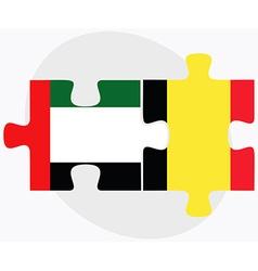 United Arab Emirates and Belgium Flags vector image