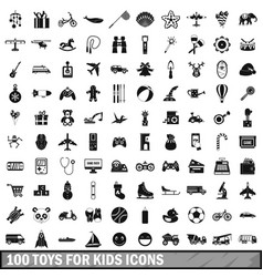 100 toys for kids icons set simple style vector image vector image