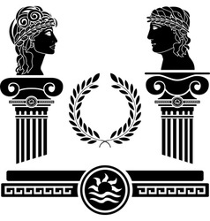 greek columns and human heads vector image vector image