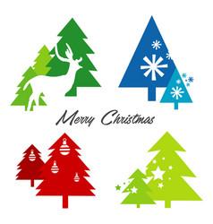 tree merry christmas deer snowflake icon vector image vector image
