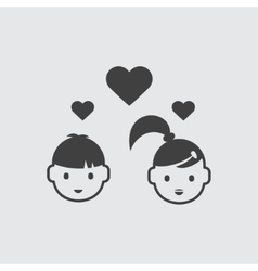 Boy and girl in love icon vector image vector image