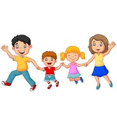 Cartoon happy family waving hands vector image