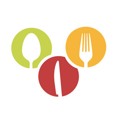 colorful circular frames with silhouettes cutlery vector image