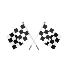 crossed chequered flags icon flat style vector image vector image