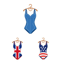 different types of swimsuits cartoon icons in set vector image