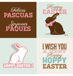 Happy easter cards with easter vector