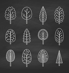 Set of chalk trees on the chalkboard vector image vector image