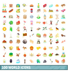 100 world icons set cartoon style vector
