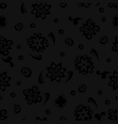 Abstract black flowers pattern with curl vector