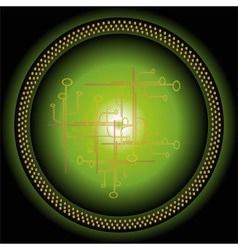Abstract futuristic fractal green circle backgroun vector