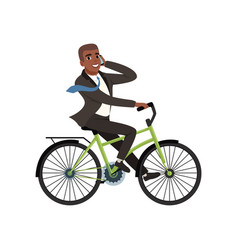 Afro-american businessman riding bicycle and vector