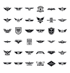 Airforce army badge logo icons set simple style vector