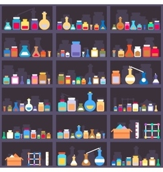 Alchemical elixirs or chemicals and medications on vector image