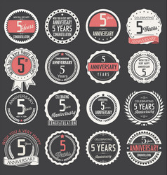 Anniversary retro label collection 5 years vector