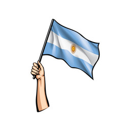 Argentina flag and hand on white background vector